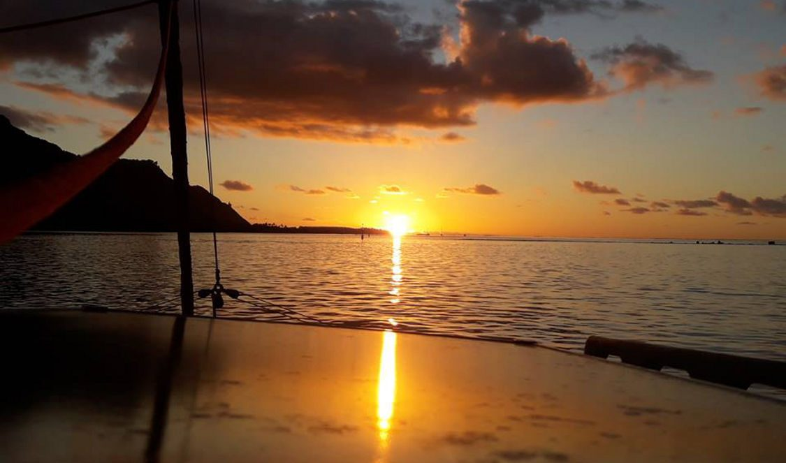 classic sunset in moorea lagoon cruise voila during a holiday