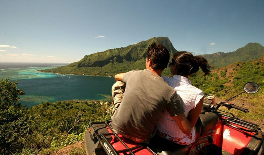 coule at view point during atv quad tour in Moorea French Polynesia