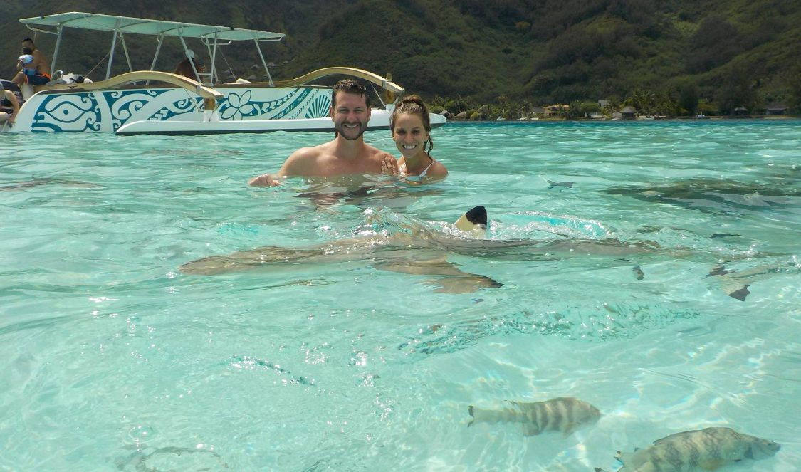 couple swimming with sharks at jetski tour in moorea during their vacation