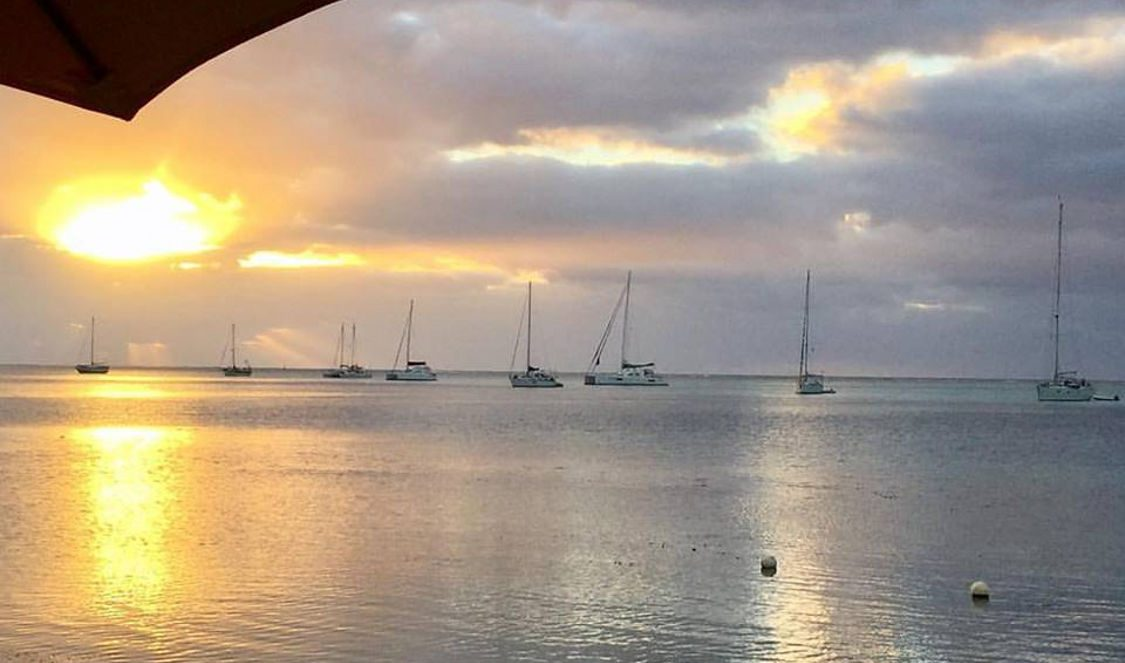 experience sunset at restaurant moorea beach cafe during your moorea vacation