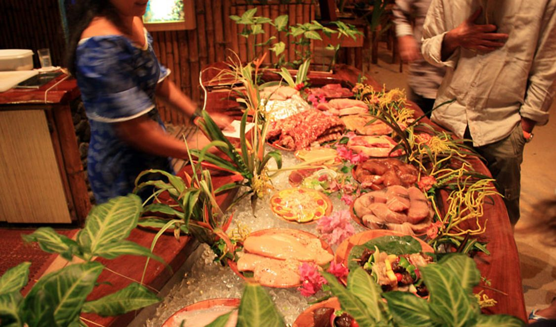 fish buffet at bloddy marys famous restaurant in bora bora for your vacation