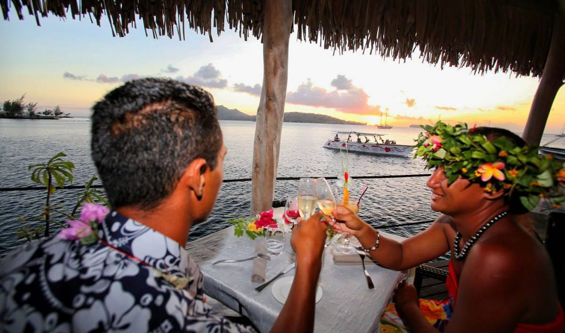 romantic dinner at saint james restaurant in bora bora during your honeymoon