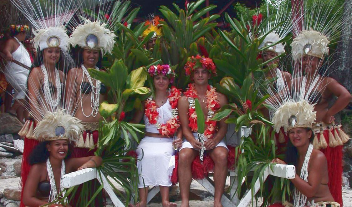 royal wedding at tiki village in moorea during a vacation
